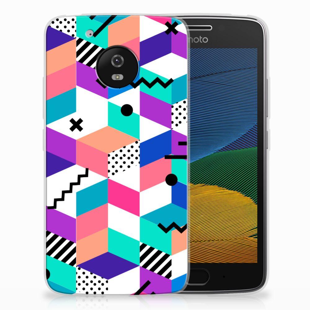 Motorola Moto G5 TPU Hoesje Blokken Kleurrijk