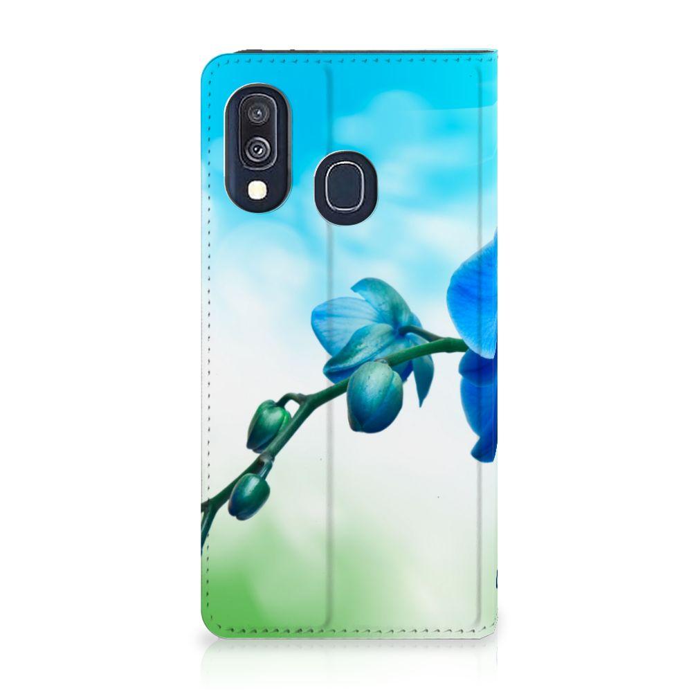 Samsung Galaxy A40 Standcase Hoesje Design Orchidee Blauw