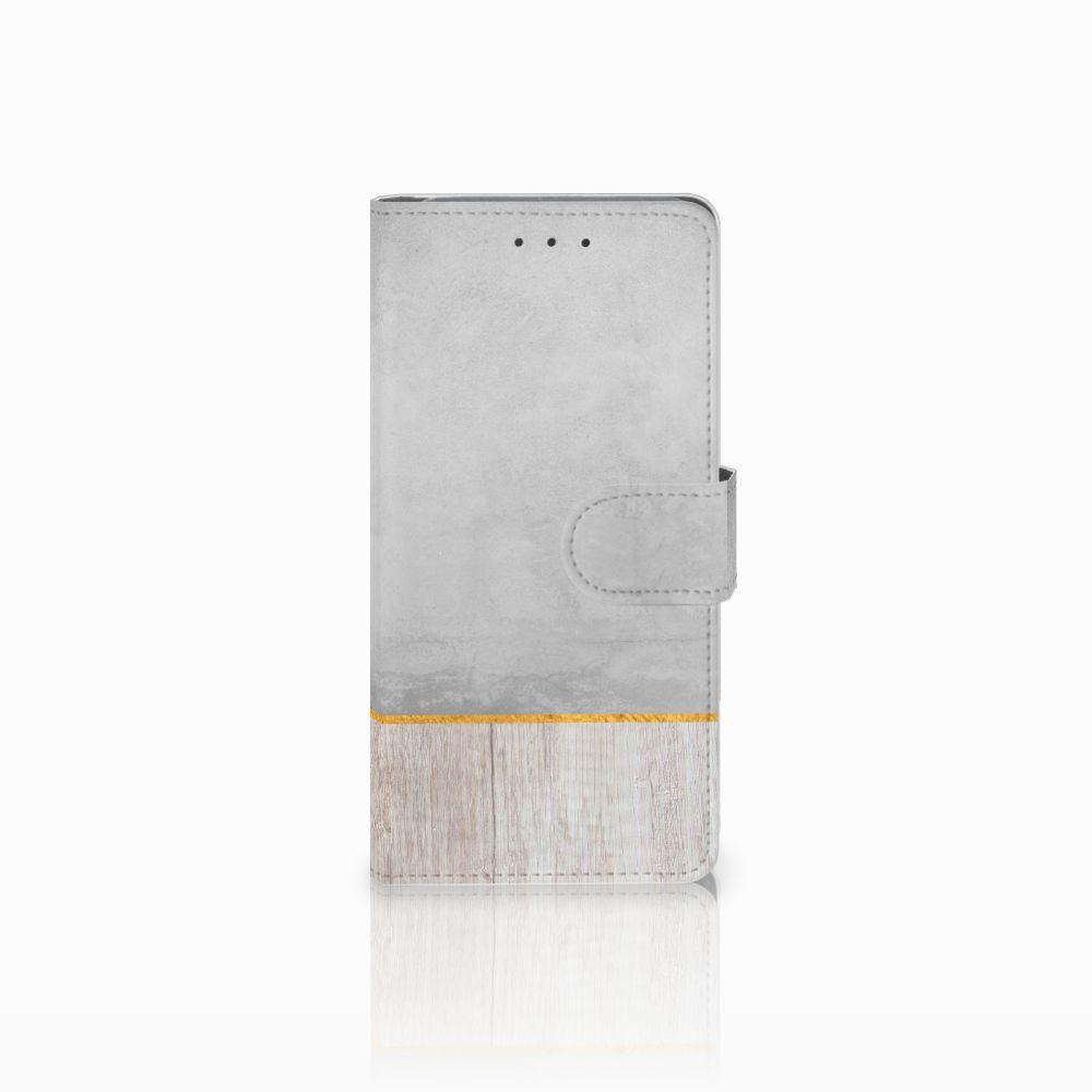 Samsung Galaxy Grand Prime   Grand Prime VE G531F Uniek Boekhoesje Wood Concrete