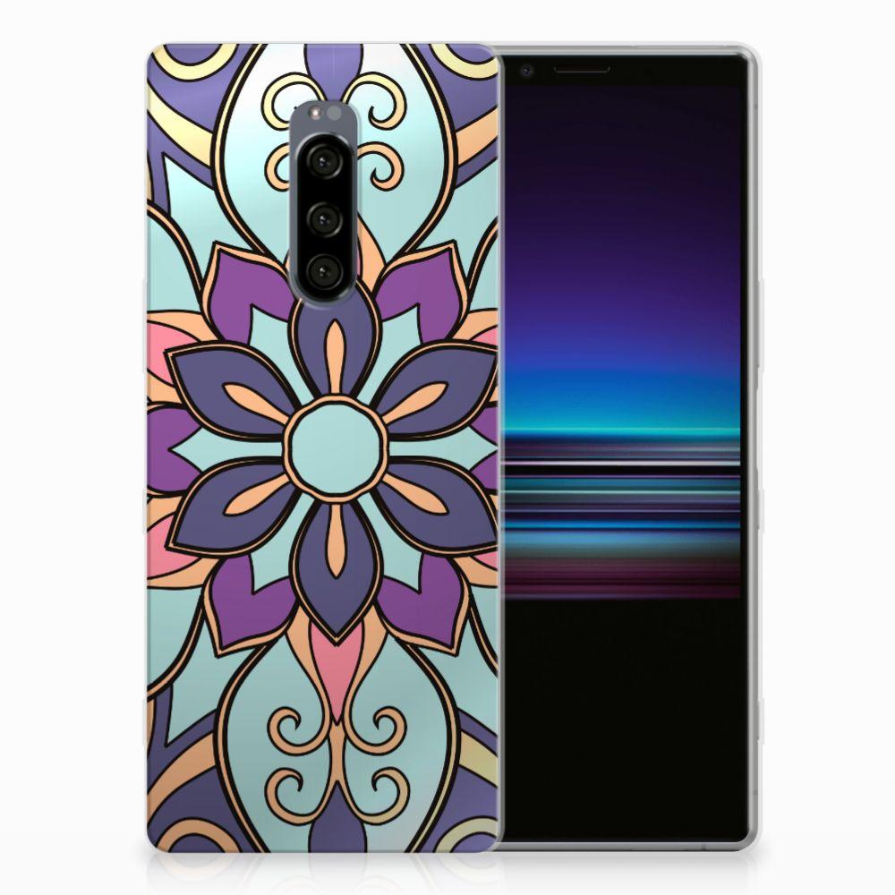 Sony Xperia 1 TPU Hoesje Design Purple Flower