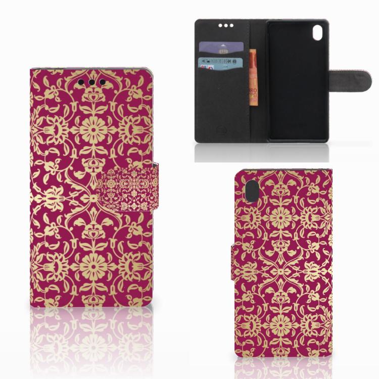 Wallet Case Sony Xperia M4 Aqua Barok Pink