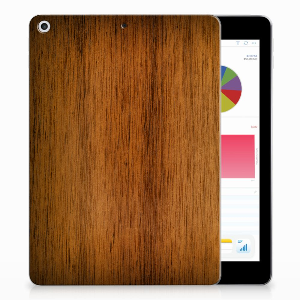 Apple iPad 9.7 2018 | 2017 Silicone Tablet Hoes Donker Hout