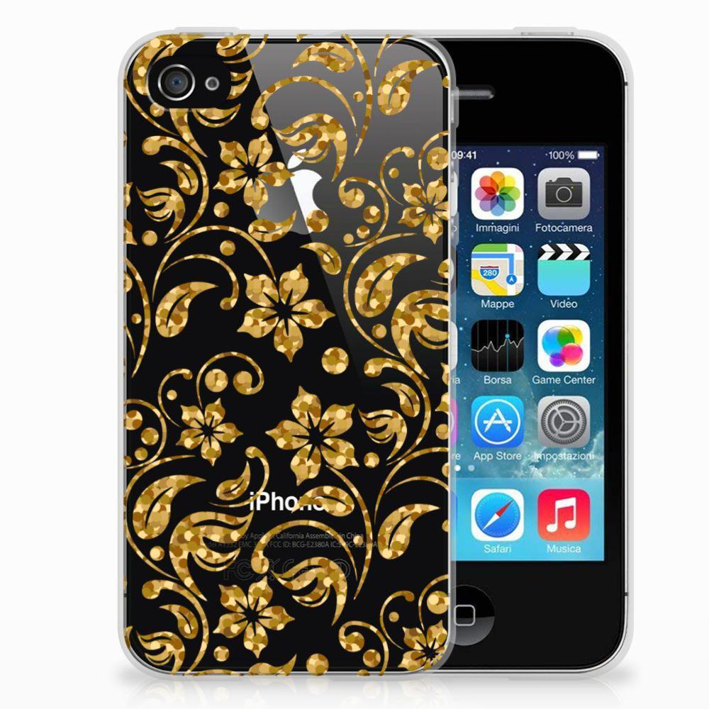 Apple iPhone 4 | 4s TPU Hoesje Design Gouden Bloemen