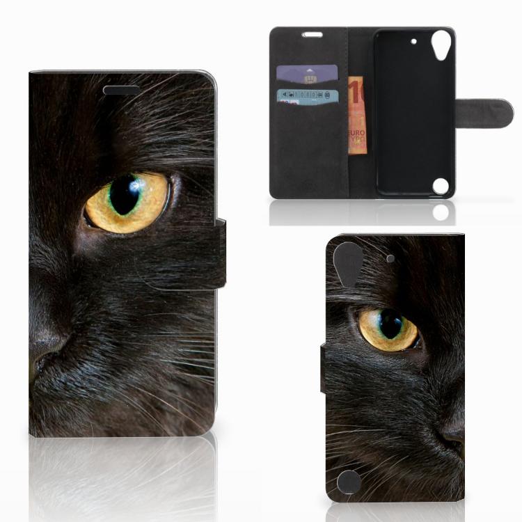 HTC Desire 530 Telefoonhoesje met Pasjes Zwarte Kat