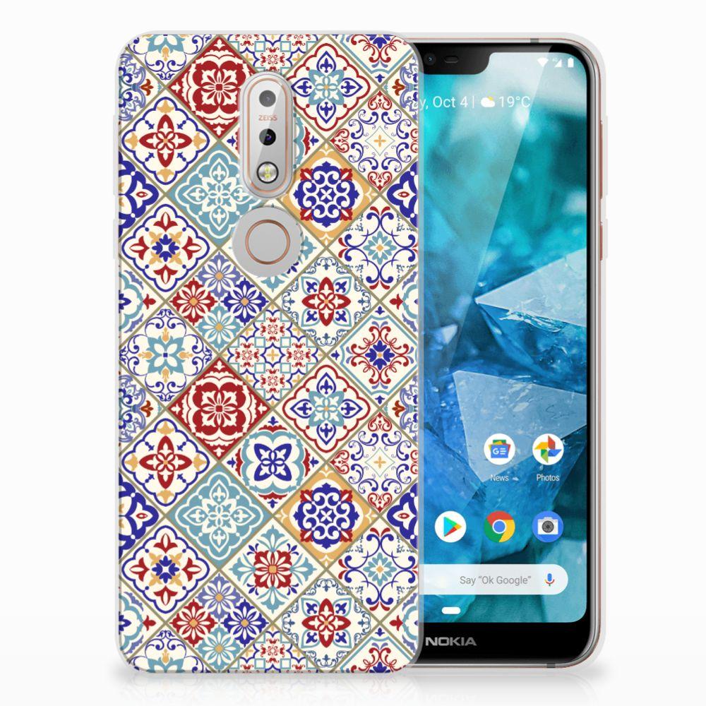 Nokia 7.1 Uniek TPU Hoesje Tiles Color
