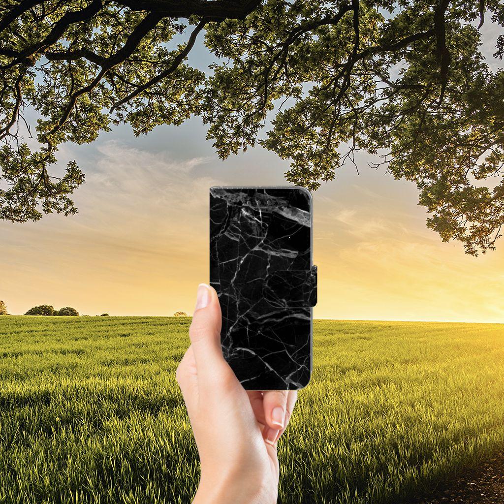 Samsung Galaxy J3 2016 Uniek Boekhoesje Marmer Zwart