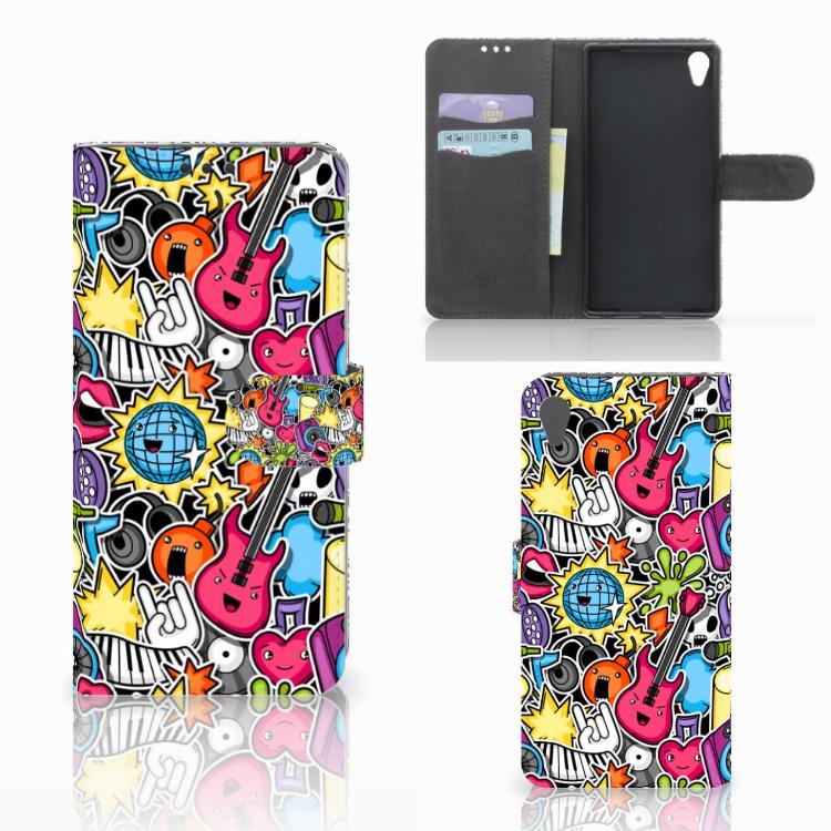 Sony Xperia Z5 Premium Wallet Case met Pasjes Punk Rock