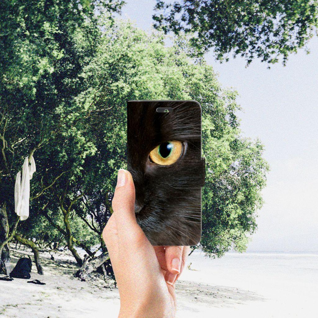 Huawei Ascend Y550 Telefoonhoesje met Pasjes Zwarte Kat