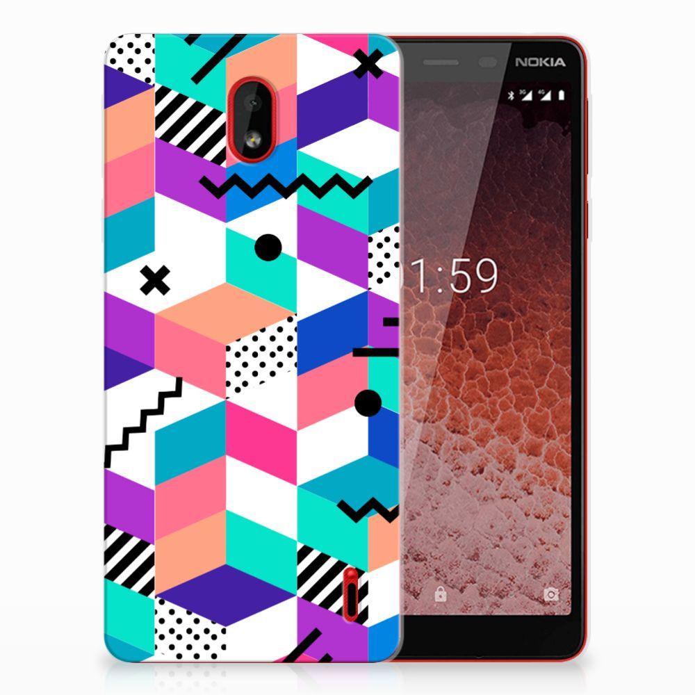 Nokia 1 Plus TPU Hoesje Blokken Kleurrijk