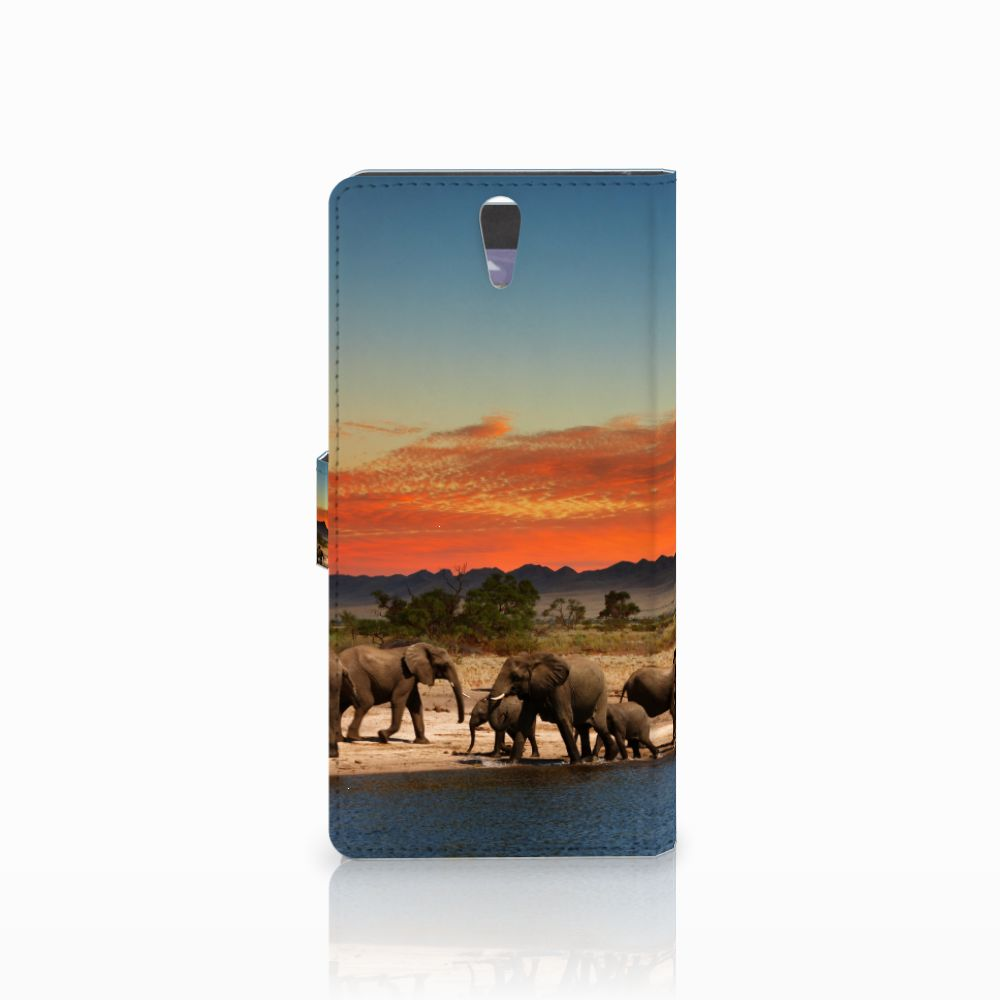 Sony Xperia C5 Ultra Telefoonhoesje met Pasjes Olifanten