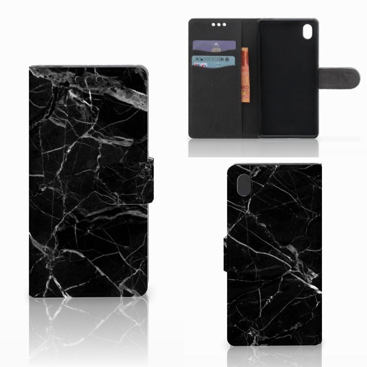 Sony Xperia M4 Aqua Bookcase Marmer Zwart - Origineel Cadeau Vader