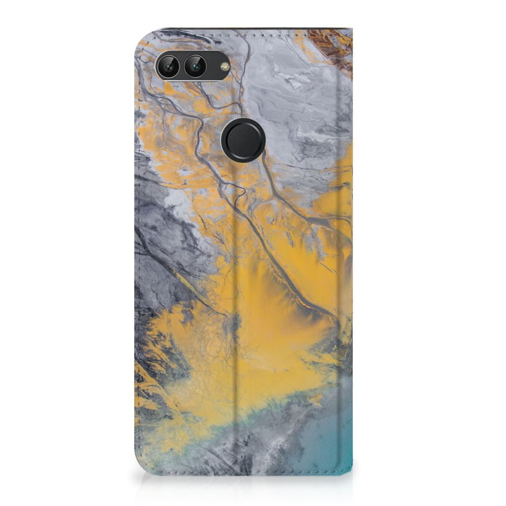 Huawei P Smart Standcase Hoesje Design Marble Blue Gold