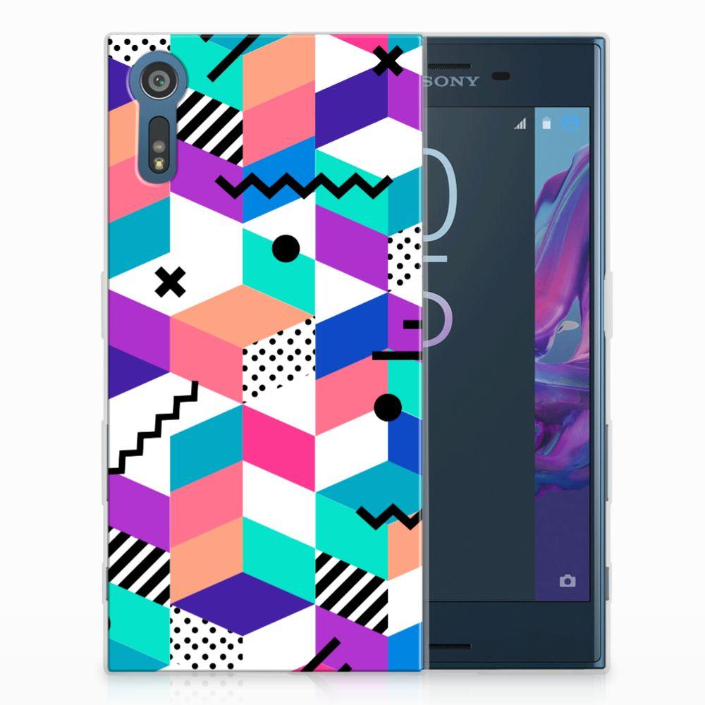 Sony Xperia XZs | XZ TPU Hoesje Design Blocks Colorful