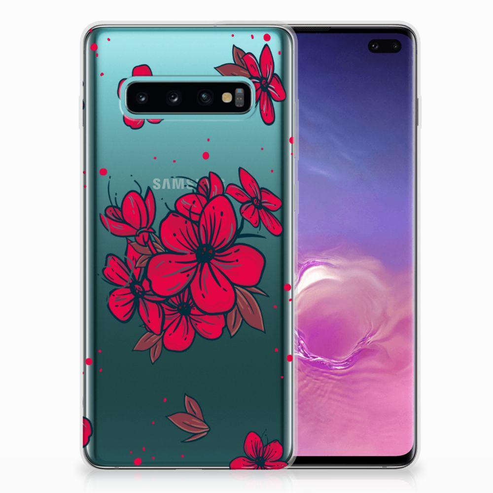 Samsung Galaxy S10 Plus TPU Hoesje Design Blossom Red