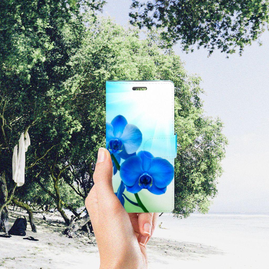 LG K10 2015 Boekhoesje Design Orchidee Blauw