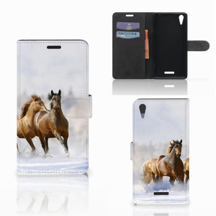 Sony Xperia T3 Telefoonhoesje met Pasjes Paarden