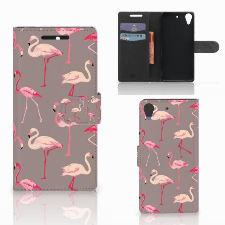 HTC Desire 628 Telefoonhoesje met Pasjes Flamingo