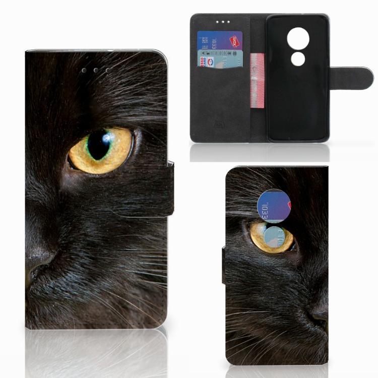 Motorola Moto G7 Play Telefoonhoesje met Pasjes Zwarte Kat