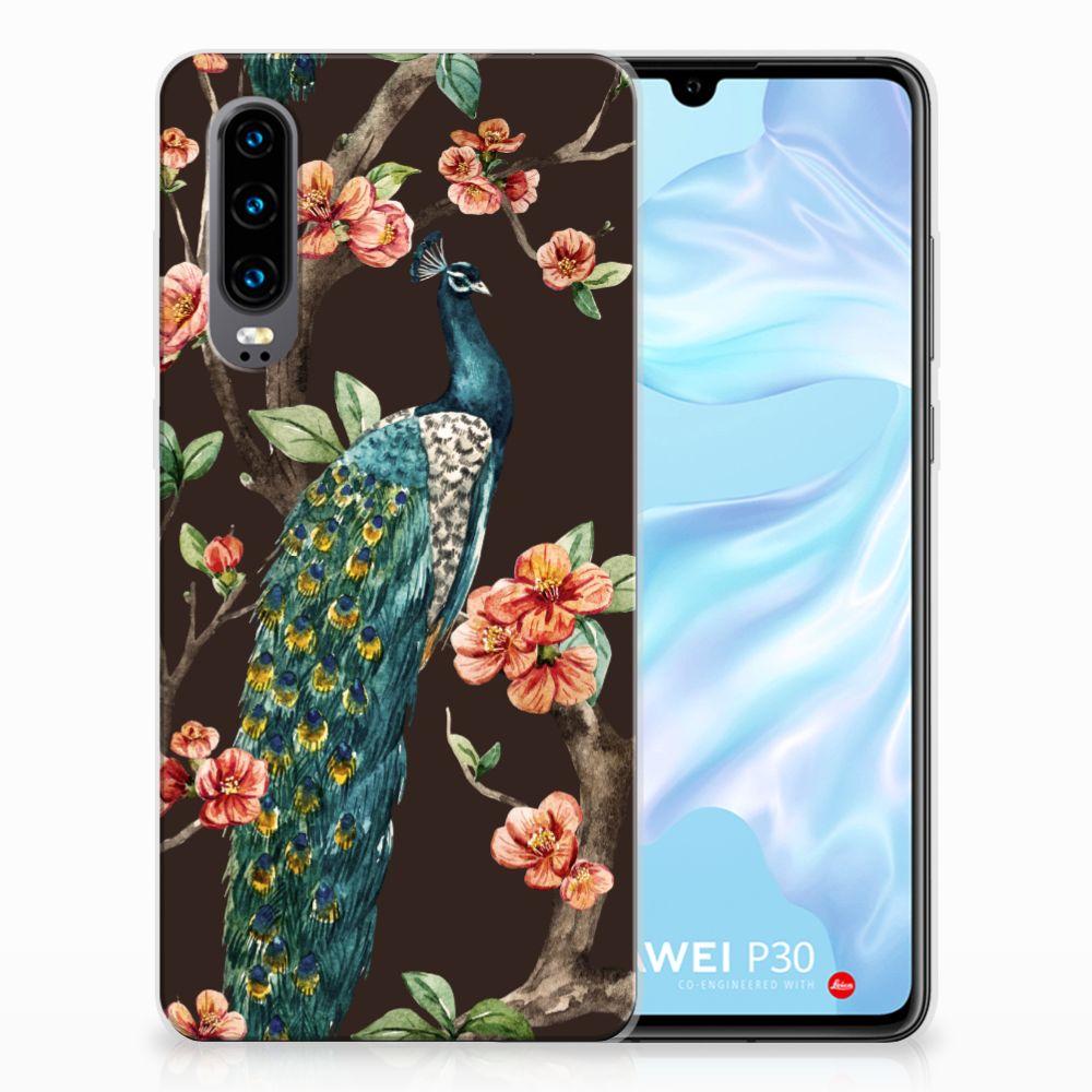 Huawei P30 TPU Hoesje Design Pauw met Bloemen