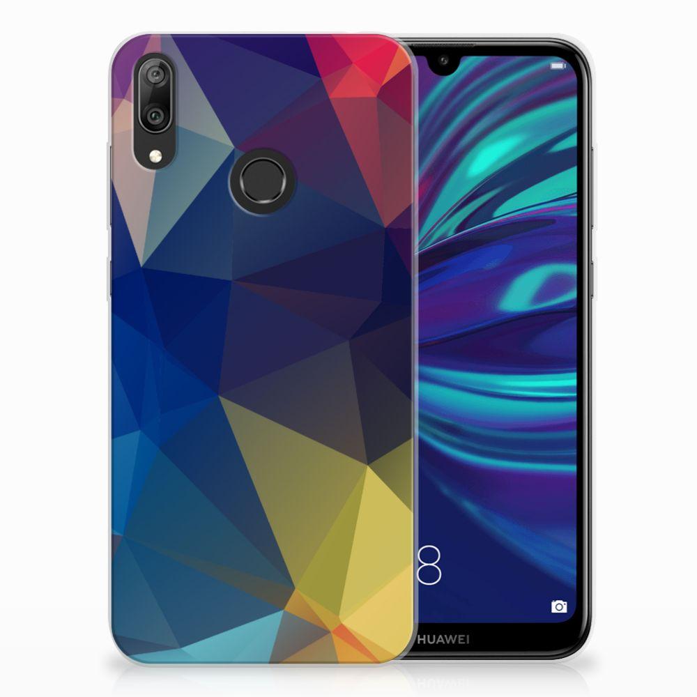 Huawei Y7 2019 TPU Hoesje Polygon Dark