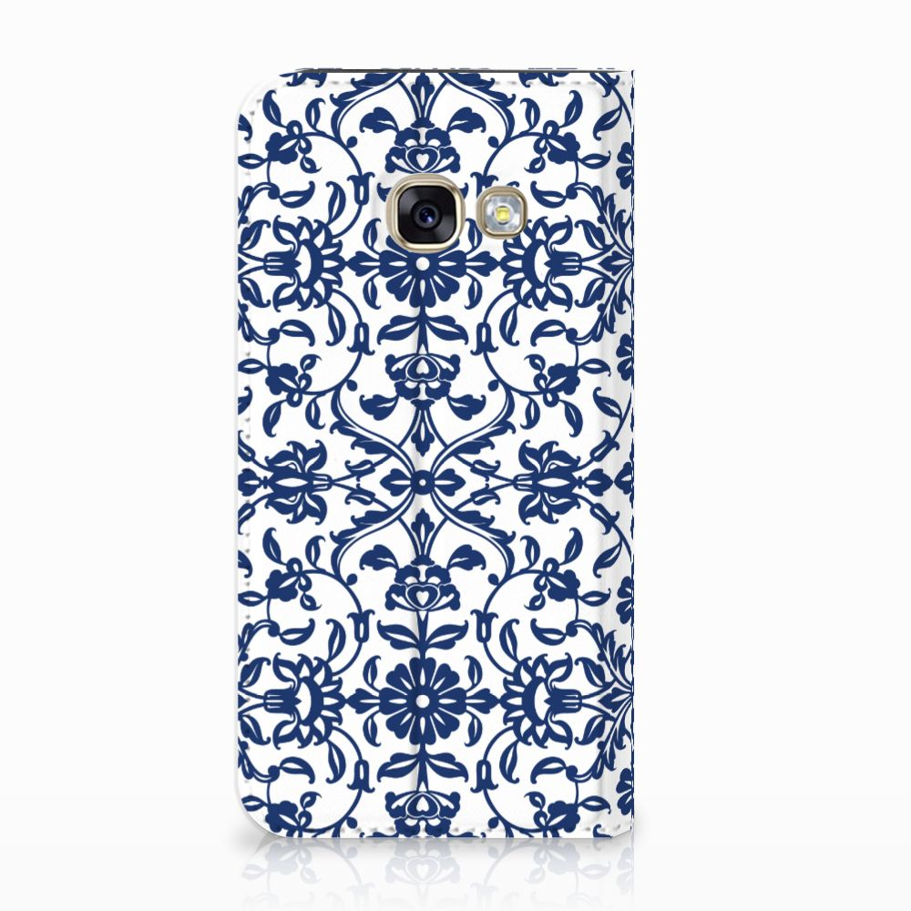 Samsung Galaxy A3 2017 Standcase Hoesje Flower Blue