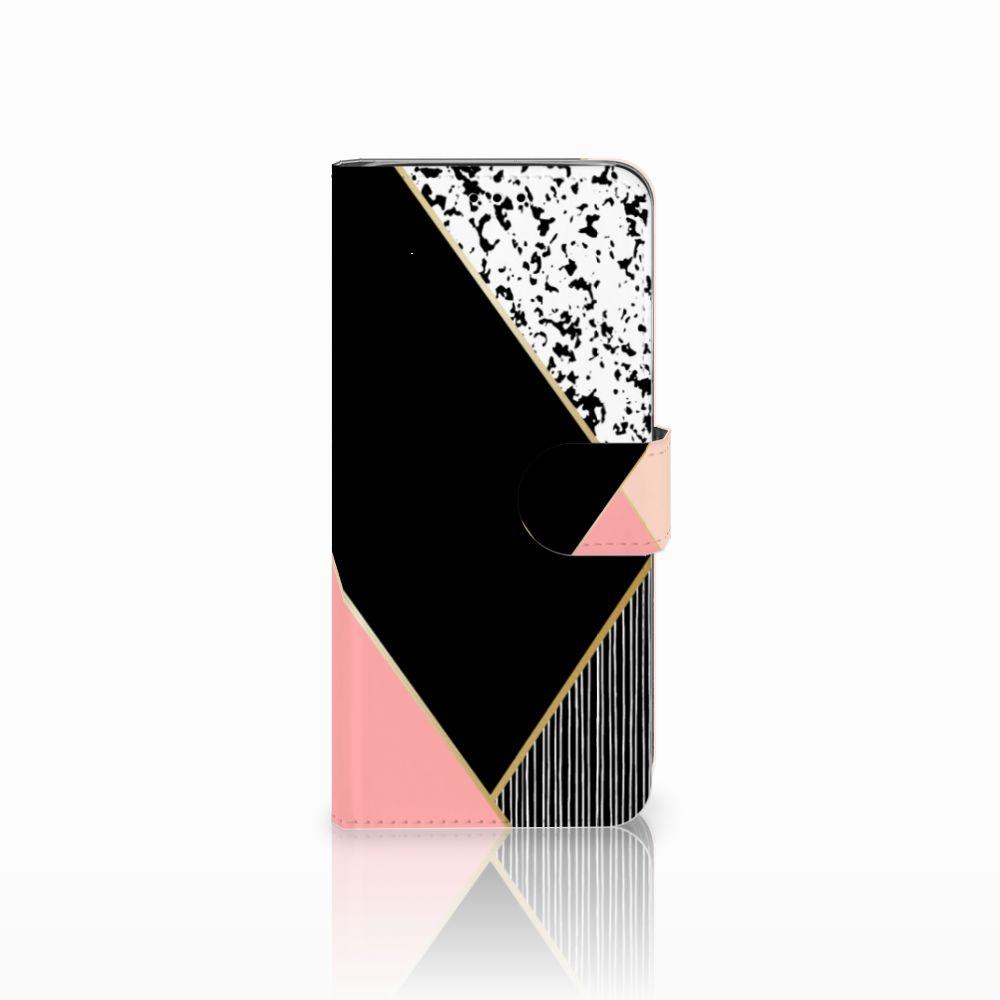 Samsung Galaxy A6 2018 Uniek Boekhoesje Black Pink Shapes
