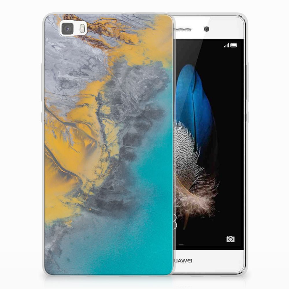 Huawei Ascend P8 Lite TPU Siliconen Hoesje Marble Blue Gold