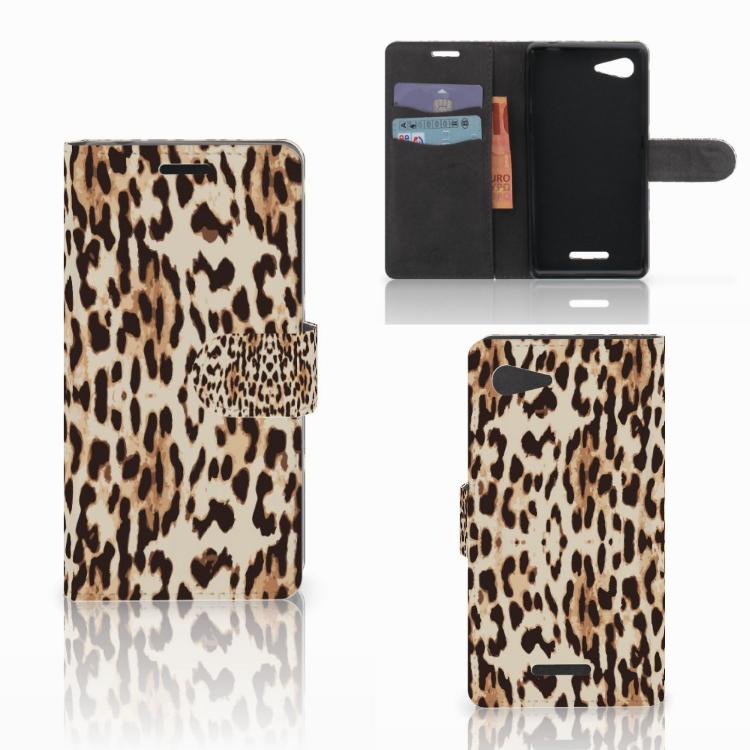 Sony Xperia E3 Telefoonhoesje met Pasjes Leopard
