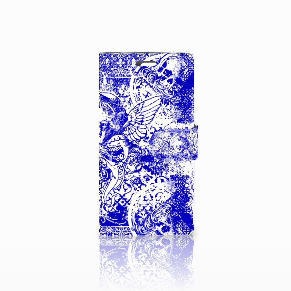 LG K10 2015 Uniek Boekhoesje Angel Skull Blue