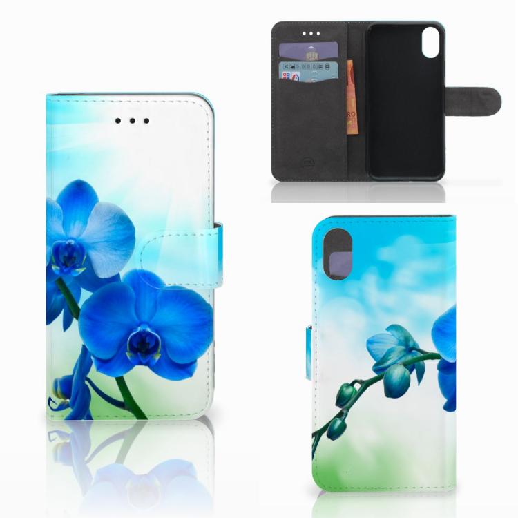 Apple iPhone X   Xs Hoesje Orchidee Blauw