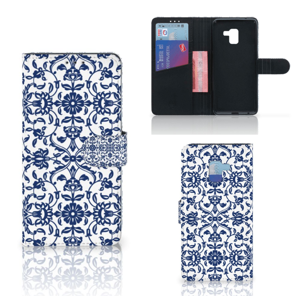 Samsung Galaxy A8 Plus (2018) Hoesje Flower Blue