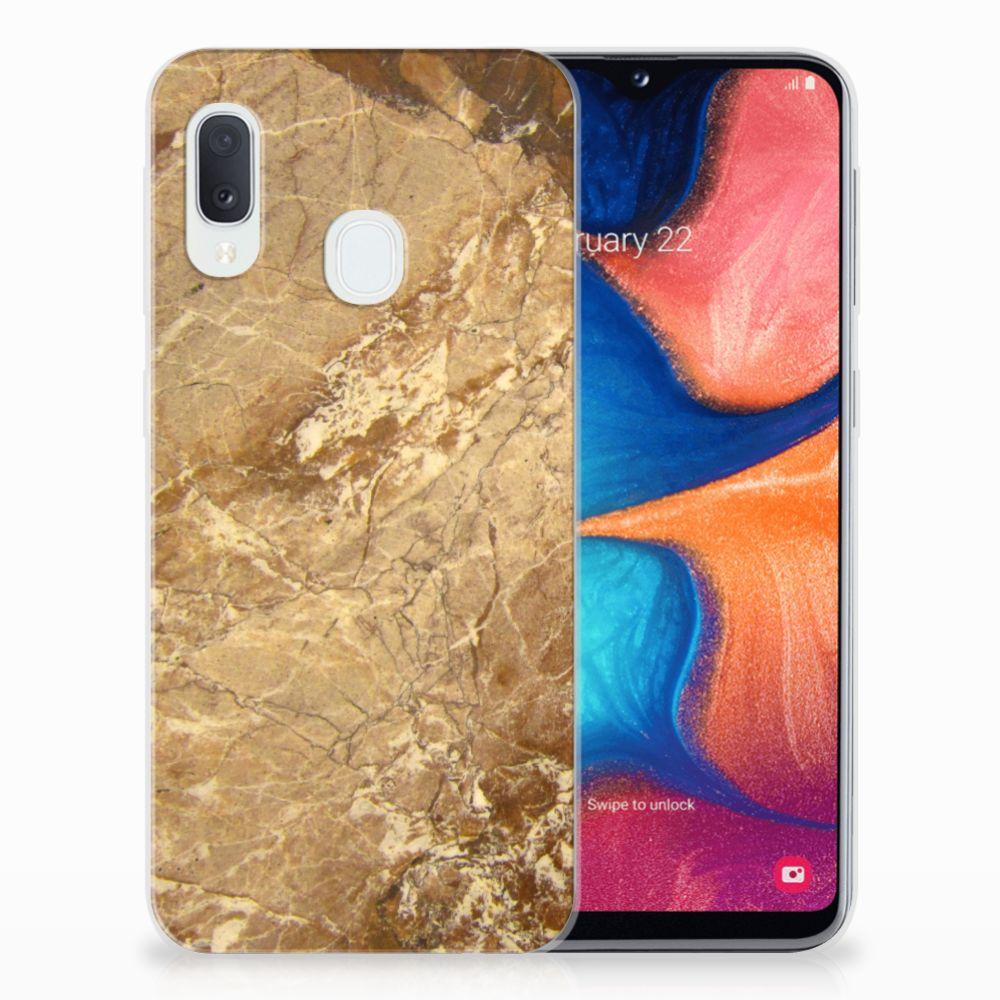 Samsung Galaxy A20e TPU Siliconen Hoesje Marmer Creme