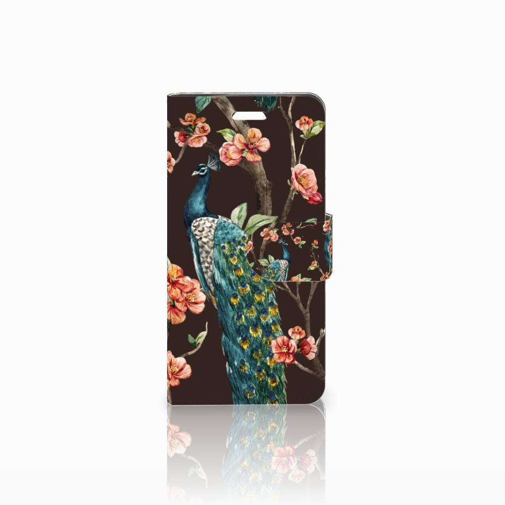 Acer Liquid Z330 Boekhoesje Design Pauw met Bloemen