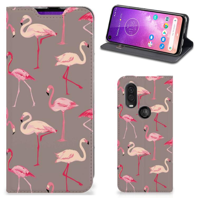 Motorola One Vision Hoesje maken Flamingo