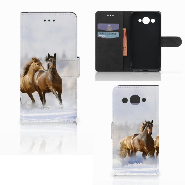 Huawei Y3 2017 Telefoonhoesje met Pasjes Paarden