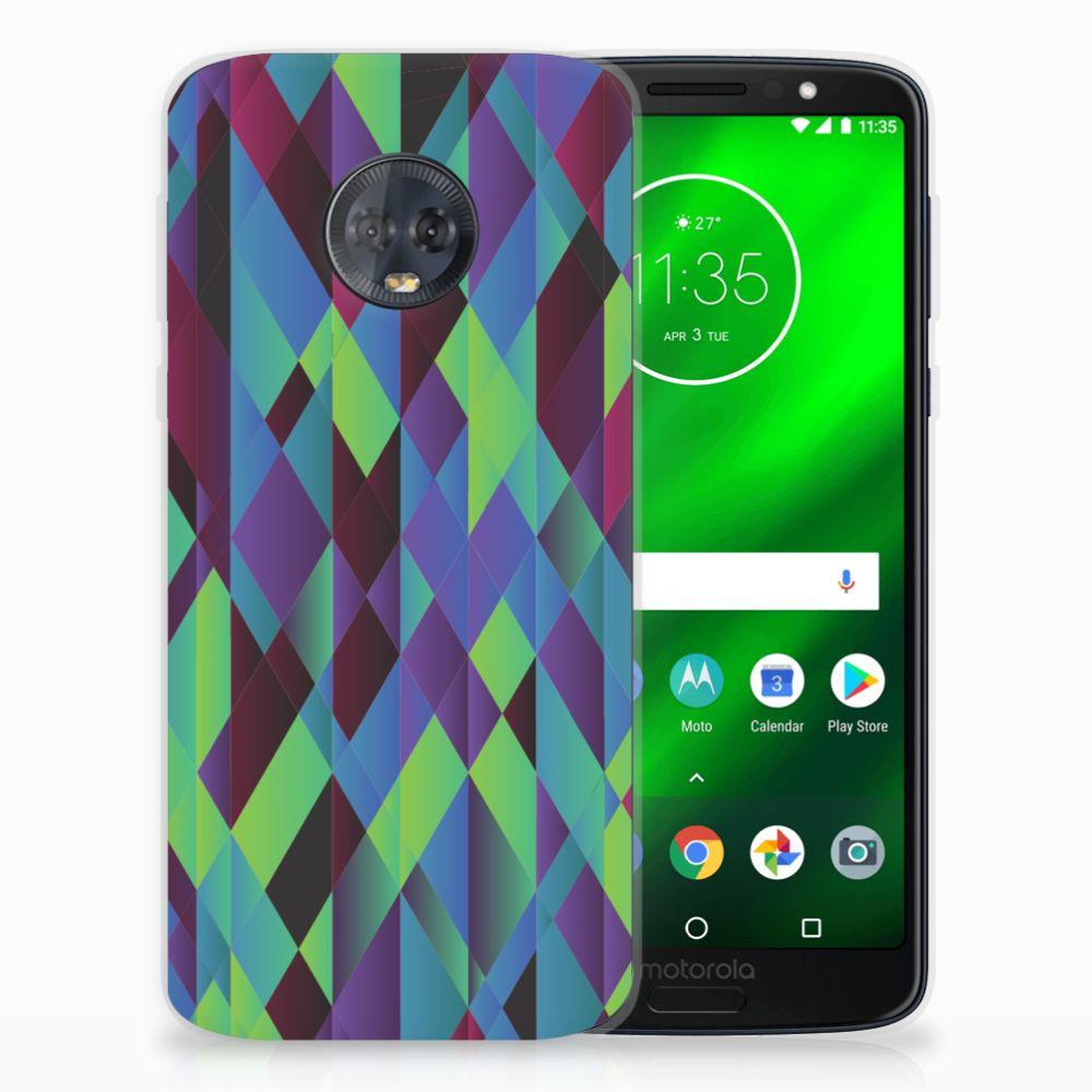 Motorola Moto G6 Plus TPU Hoesje Abstract Green Blue