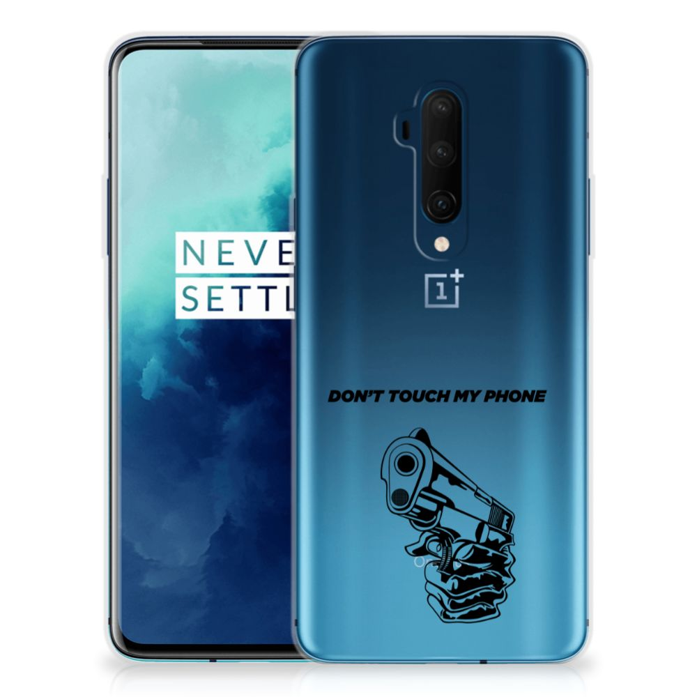 OnePlus 7T Pro Silicone-hoesje Gun Don't Touch My Phone