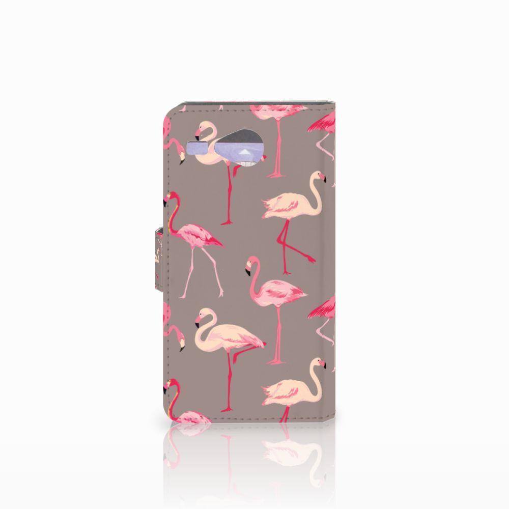Acer Liquid Z520 Telefoonhoesje met Pasjes Flamingo