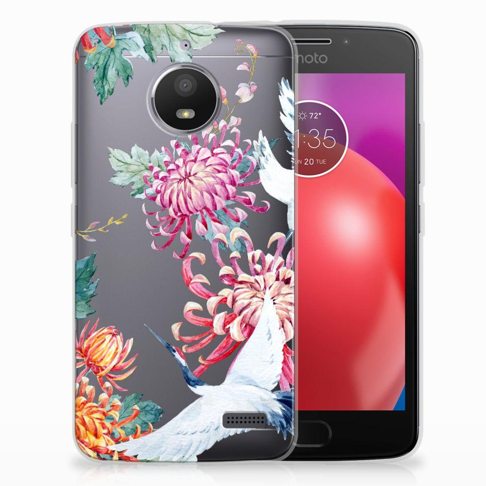 Motorola Moto E4 Uniek TPU Hoesje Bird Flowers