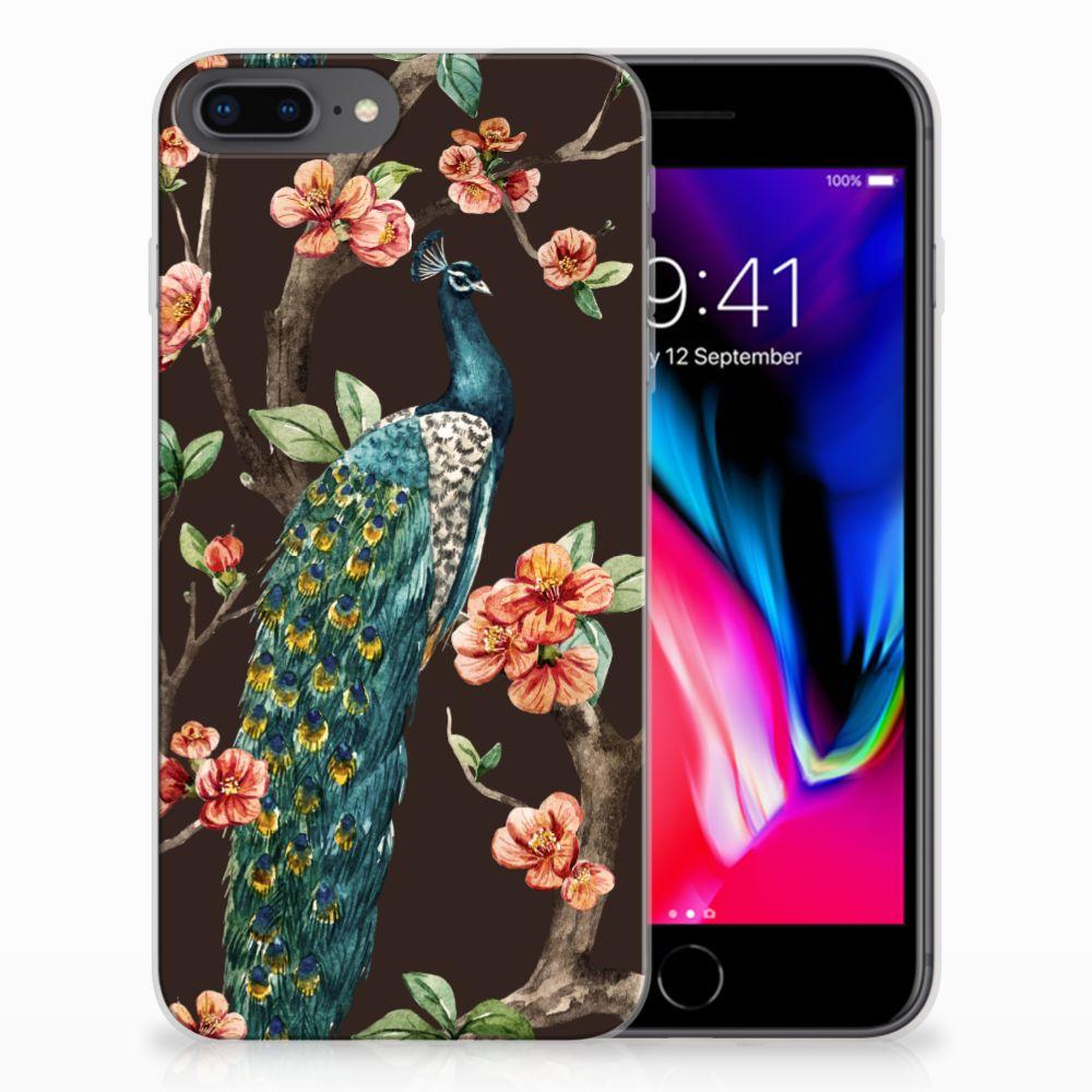 Apple iPhone 7 Plus | 8 Plus TPU Hoesje Pauw met Bloemen