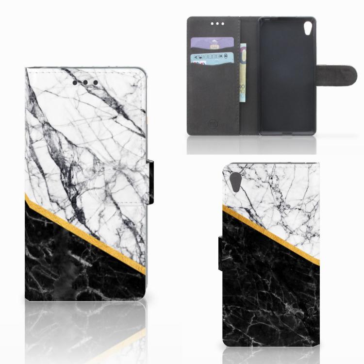 Sony Xperia E5 Bookcase Marmer Wit Zwart