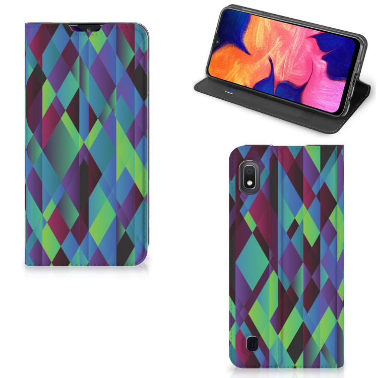Samsung Galaxy A10 Stand Case Abstract Green Blue