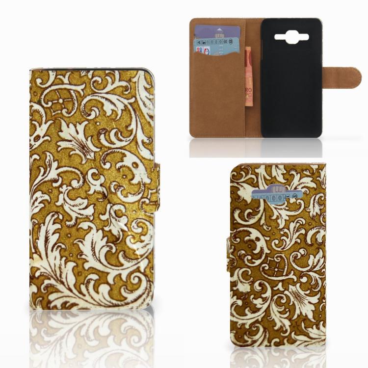 Wallet Case Samsung Galaxy J2 2016 Barok Goud