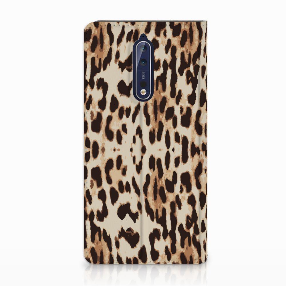 Nokia 8 Uniek Standcase Hoesje Leopard