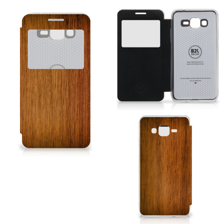 Samsung Galaxy Grand Prime Book Style Case Donker Hout