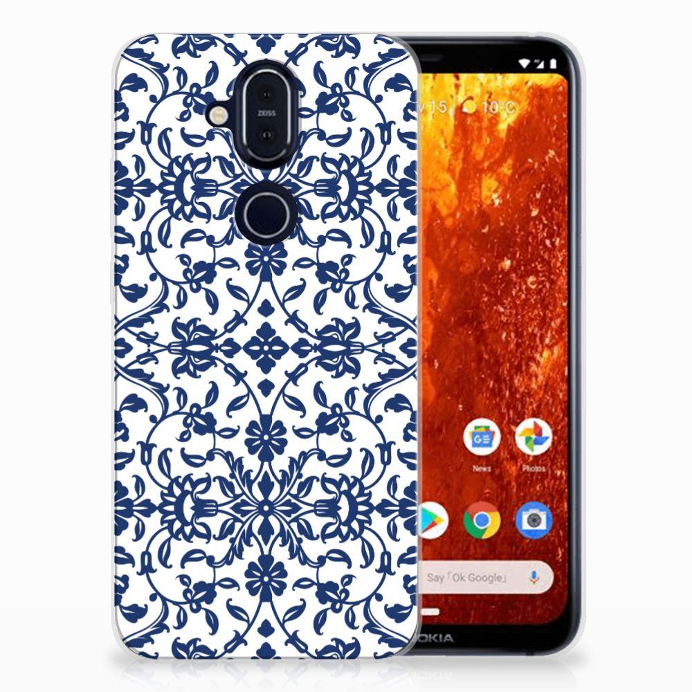 Nokia 8.1 TPU Hoesje Flower Blue