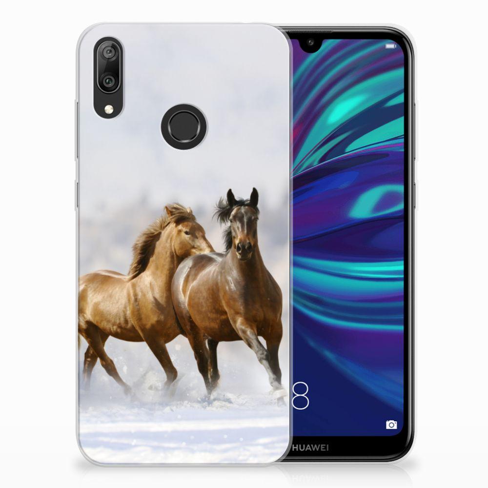 Huawei Y7 2019 Leuk Hoesje Paarden