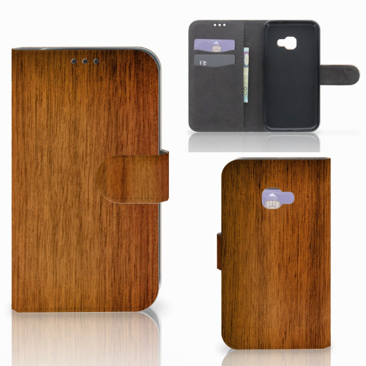 Samsung Galaxy Xcover 4 | Xcover 4s Book Style Case Donker Hout
