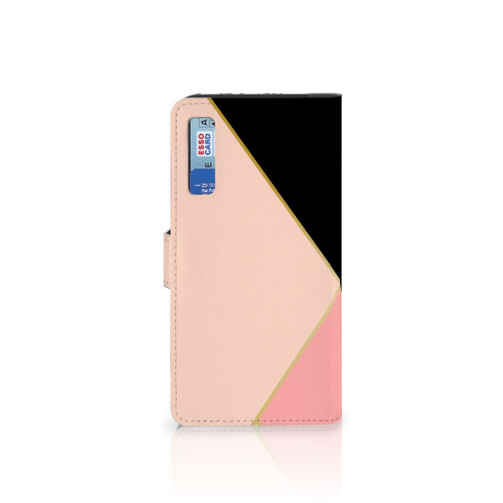 Samsung Galaxy A7 (2018) Bookcase Zwart Roze Vormen