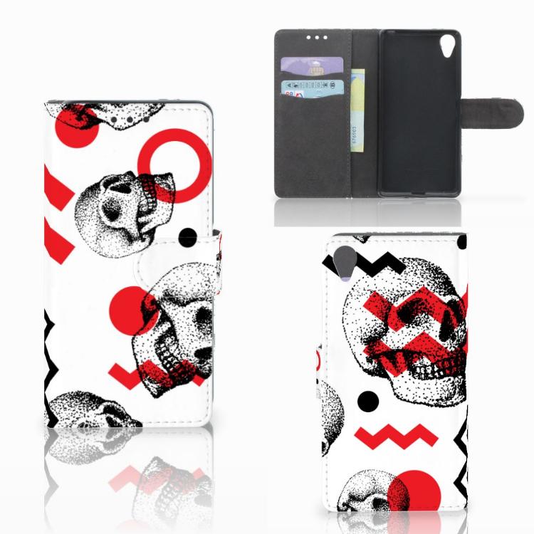 Telefoonhoesje met Naam Sony Xperia X Skull Red